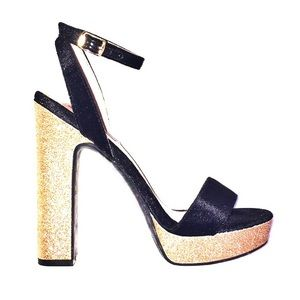 Betsey Johnson black gold glitter chunky heels